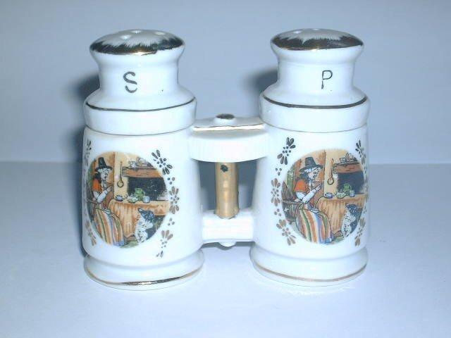 Vintage Binoculars Old Lady Dog Salt & Pepper Shaker Set