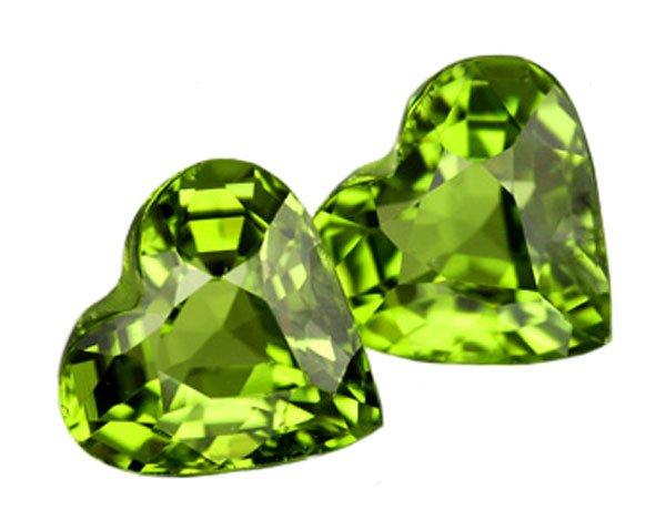 SOLD ? 3.11 ct. Peridot, Green, VVS1 Heart Shaped Untreated Natural Gemstones - 1 Pair