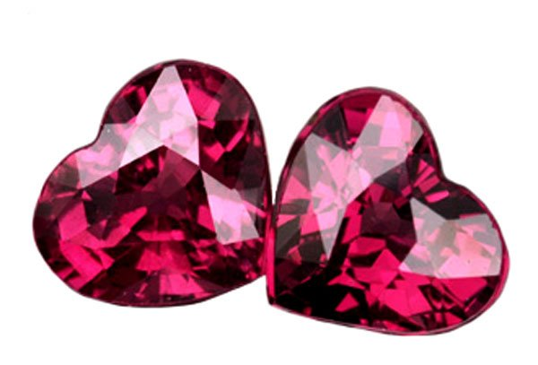 SOLD ? 2.59 ct. Rhodolite Garnet, Purple/Pink, VVS Heart Shaped Natural Gemstones - 1 Pair