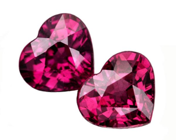 2.37 ct. Rhodolite Garnet, Purple/Pink, VVS Heart Shaped Natural Gemstones - 1 Pair