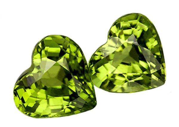 SOLD 2.10 ct. Peridot, Green, Heart Shaped Natural Gemstones - 1 Pair