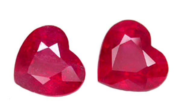 SOLD ? 2.30 ct. Ruby, Glowing Rich Red, Heart Shaped Natural Gemstones - 1 Pair