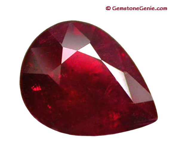 1.89 ct. Ruby, Glowing Blood Red, Pear (Tear Drop) Faceted Natural Gemstone