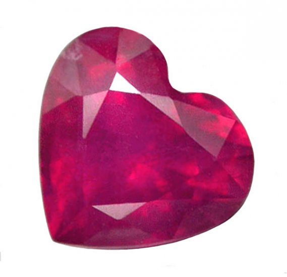 1.50 ct. Ruby, Pinkish Red, Heart Shaped Faceted Natural Gemstone