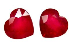 SOLD 2.40 ct. Ruby, Glowing Rich Red, Heart Shaped Faceted Natural Gemstones