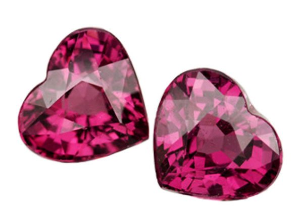 2.26 ct. Rhodolite Garnet, VVS, Pink Purple, Heart Shaped Faceted Untreated Natural Gemstones