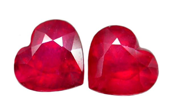 SOLD 1.73 ct. Ruby, Glowing Rich Red, Heart Shaped Faceted Natural Gemstones - 1 Pair/2 Pieces