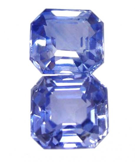 0.86 Total ctw. Sapphire, Blue, 4 x 4 Emerald/Square Faceted Natural Gemstone, Ceylon - 1 Pair