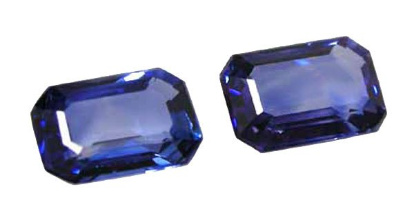 1.20 total ctw. Sapphire, Rich Blue, Emerald Faceted Natural Gemstones, Ceylon