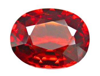 1.42 ct. Spessartite/Spessartine Garnet, Reddish Orange, VVS Oval Faceted Gemstone