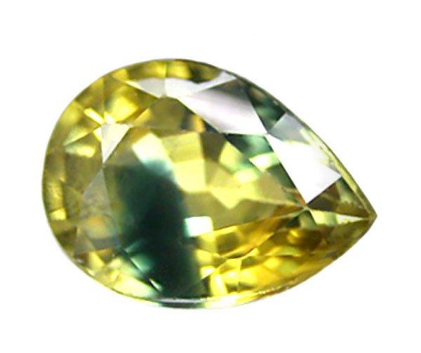 0.90 ct. Sapphire, Bi-Color (Yellow/Blue), VVS Pear (Tear Drop) Faceted Gemstone, Ceylon