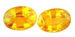 1.17 ct. Sapphires, Yellow Orange, VVS-VS Oval Faceted Gemstones, Ceylon - 1 Pair