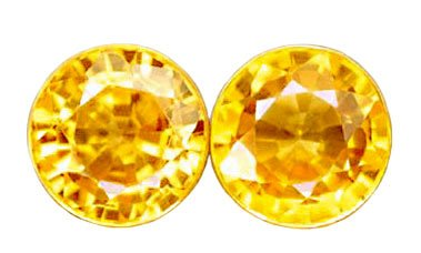 0.80 ct. Sapphire, Yellow, IF-VVS1 Round Faceted Natural Gemstones - 1 Pair