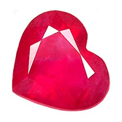 1.73 ct. Ruby, Glowing Pinkish Red, Heart Shaped Gemstone