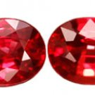 0.89 ct. Ruby, Pinkish Red, VVS Oval Faceted Rubies - 1 PAIR