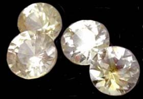 1.36 ct. Sapphire, Yellow White, VVS Round Facet, Ceylon - 4 Pieces