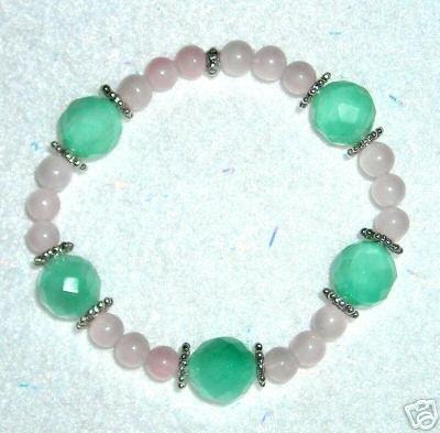 Chakra Reiki Rose Quartz Green Fluorite Bracelet Wiccan