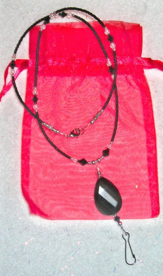 Black Onyx ID Badge Holder Lanyard w/ Swarovski Crystals Size Small 22 Inches