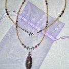 Amethyst + Gold Lampwork ID Badge Holder Lanyard w/ Swarovski Crystals