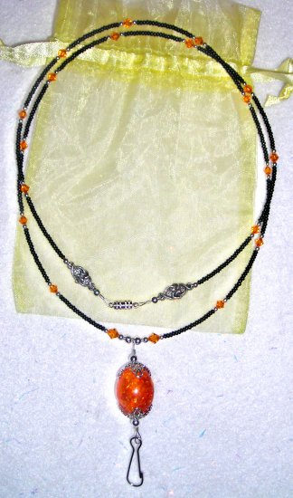 Baltic Amber Focal ID Badge Holder Lanyard w/ Swarovski Crystals