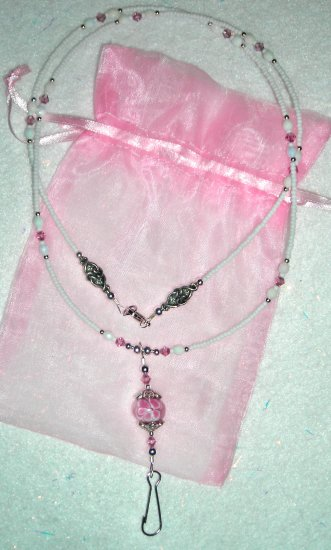 Pink + White Lampwork ID Badge Holder Lanyard w/ Swarovski Crystals