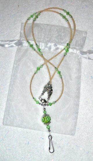 Periodot Green ID Badge Holder Lanyard w/ Swarovski Crystals