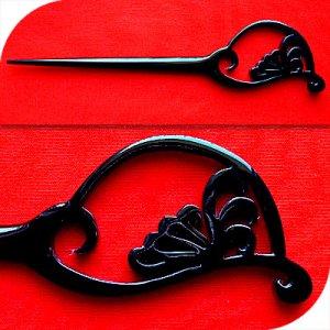 QueCraft Hair Stick / Pin BUFFALO HORN - Hand Carved