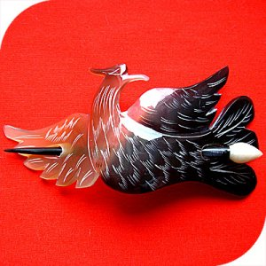 QueCraft PHOENIX Hair Pin / Barrette HORN - Hand Carved