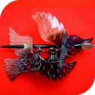 QueCraft BIRDS Hair Pin / Barrette HORN - Hand Carved