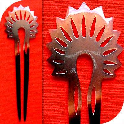 QueCraft Hair Fork / Pin BUFFALO HORN - Hand Carved