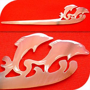 QueCraft DOLPHINS Hair Stick / Pin HORN - Hand Carved
