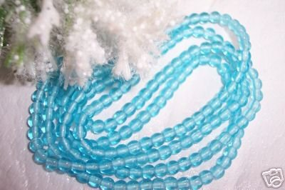 3mm Round Czech Glass Aqua 200 pack