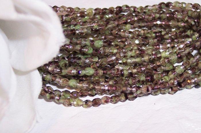 Czech Fire Polished MOSS GREEN 3mm Beads   q. 50