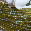 OLIVE  FROST/AB 4mm Round Czech Glass 100 pack