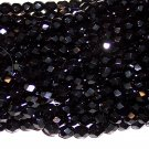 BLACK Czech Fire Polished Crystal 4mm Beads q.50
