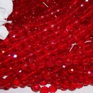 RUBY Czech Fire Polished Crystal  6mm Beads q.50