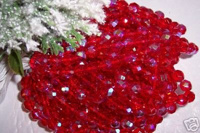 RUBY AB Czech Fire Polished 6mm Beads q. 50