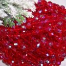 RUBY AB Czech Fire Polished 8mm Beads q.50