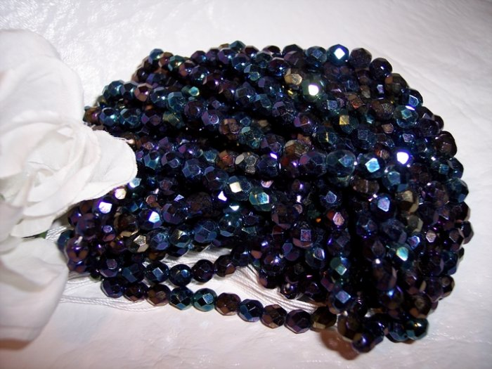 IRIS BLUE A.B. Czech Fire Polished 8mm Beads q.50
