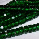 EMERALD Czech Fire Polish Faceted Rondells 6/3mm q.25
