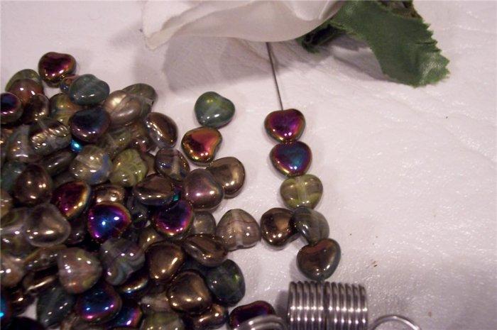 Iridescent Puff Heart Czech Glass Beads 8mm q.50