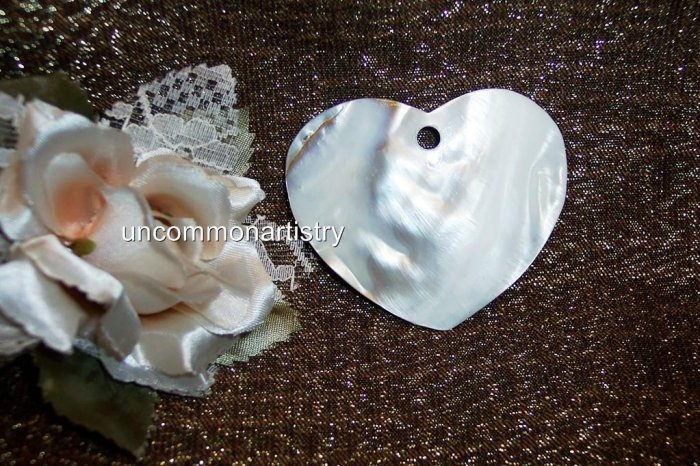 MOTHER OF PEARL Heart Pendant 52 x60mm