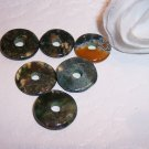 MOSS AGATE Donut Bead 15mm 4 pack