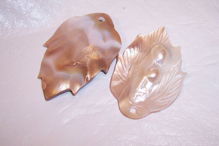 MOTHER OF PEARL Carved Leaf Pendant 58mm