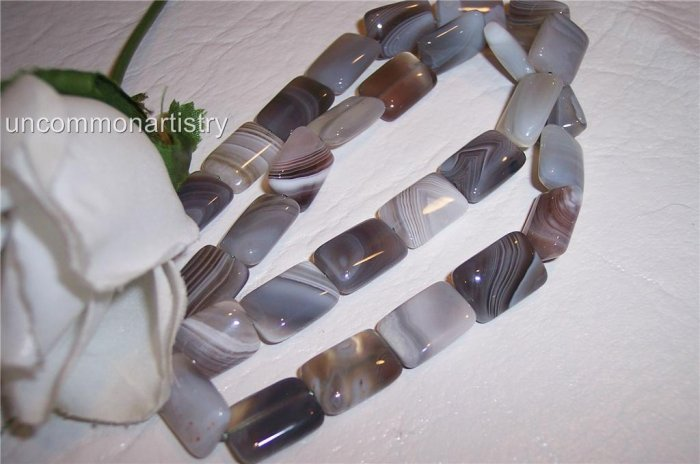 "BOTSWANA AGATE 14x10 Rectangle beads16"" strand"
