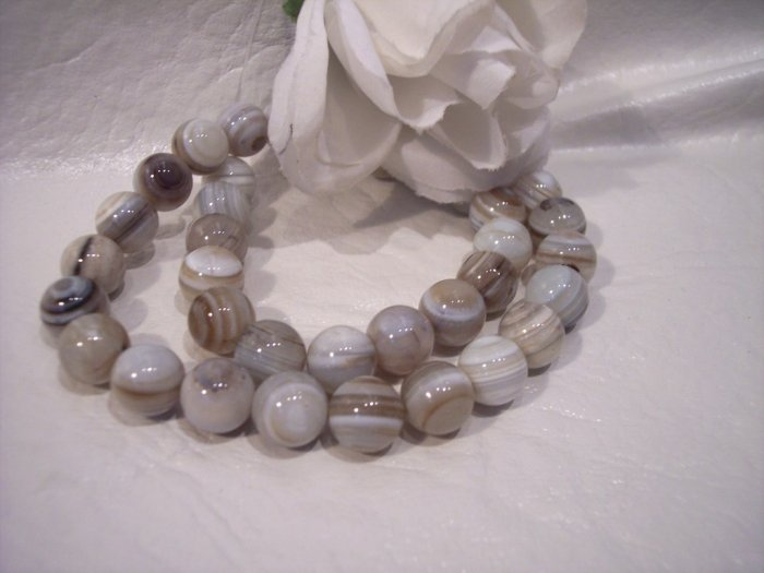 Grey Agate (striped) 10 mm Round Beads