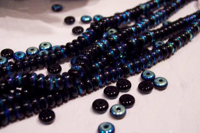 BLUE IRIS Czech 4mm Rondell Beads  100pcs