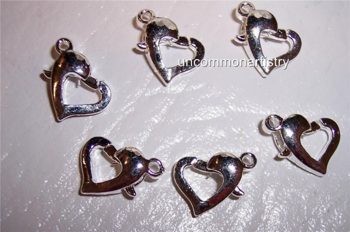 LOBSTER Claw Clasps Silver Plated HEART-Shaped q.10