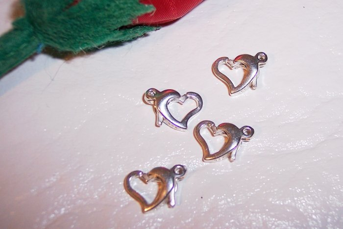 LOBSTER Claw Clasps Sterling Silver HEART-Shaped