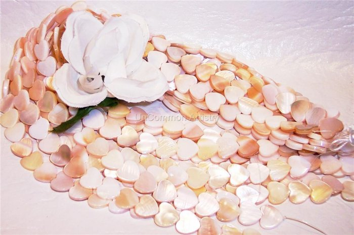 MOTHER OF PEARL Flat HEART Beads 12mm